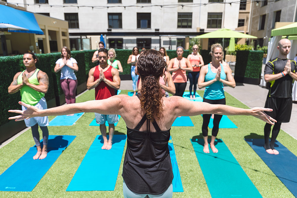 Fit City Yoga Class outdoors