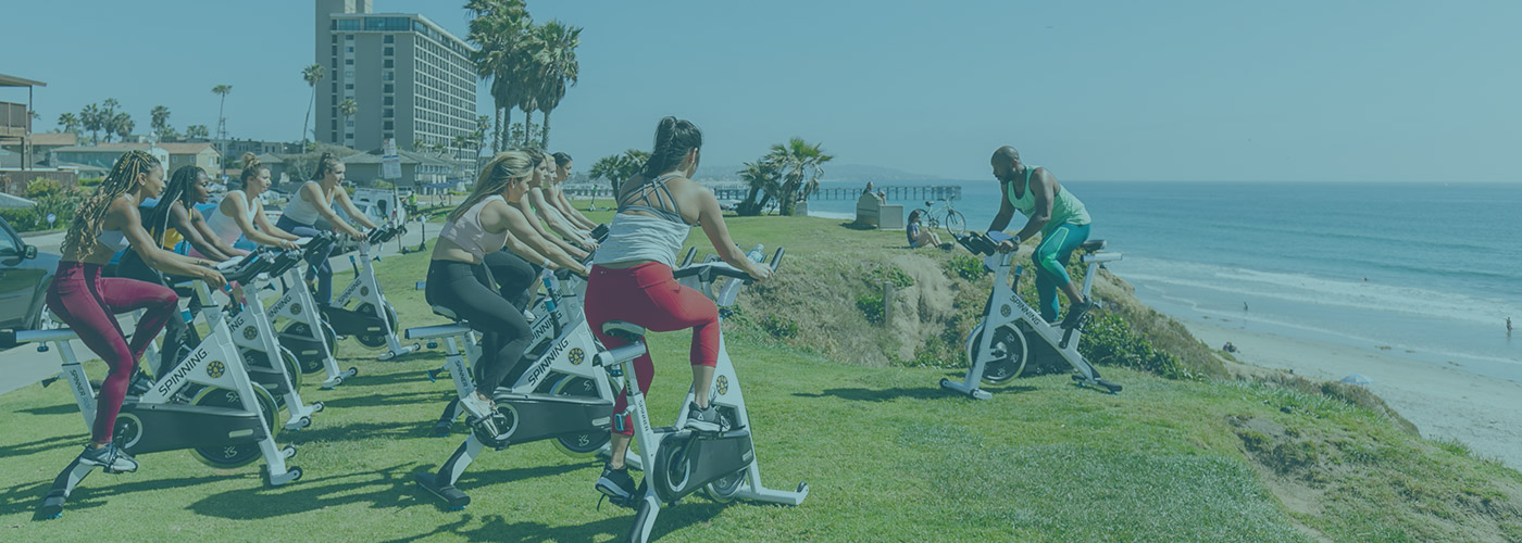 Fit City outdoor spinning class at the beach